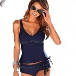 ชุดว่ายน้ำ ทูพีช แบบสปอร์ต ชุดว่ายน้ำ สีน้ำเงิน แบบเสื้อกล้าม กับ กางเกงขาสั้น ตกแต่งด้วย เส้นคาดเอวลายจุด 779226