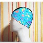 หมวกว่ายน้ำ แฟชั่น สีเขียวน้ำทะเล ลายการ์ตูน น่ารัก ๆ no sc006