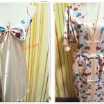 ชุดนอน เซ็กซี่ ผ้าลื่น ผ้าซาติน พร้อมเสื้อคลุม ครีม โอรส ดอกไม้ b011