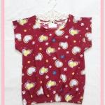 **สินค้าหมด blouse1988 เสื้อแฟชั่นน่ารัก แขนในตัว จัมพ์เอว ผ้าชีฟองเนื้อหนาลายหัวใจสีแดงเลือดหมู