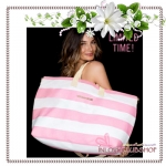 Victoria's Secret Getaway Bag Vintage Grey Stripe (สีชมพูลายขาว) *ลดราคา มีตำหนิ