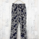 trousers369 กางเกงขายาวผ้าไหมอิตาลีเอวยืด 26-38 นิ้ว ลายกุหลาบโทนสีดำกรมท่า