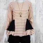 SALE!! blouse1807 เสื้อแฟชั่น ทรงเข้ารูปแขนยาว ระบายเอว ซิปหลัง ผ้าไหมอิตาลีเนื้อนิ่มสีครีมน้ำตาลพาสเทล