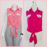 **สินค้าหมด Sale!! blouse1692 เสื้อแฟชั่นผ้าไหมอิตาลี คอปกเชิ้ตลูกไม้ ผูกเอว สีชมพูช็อคกิ้งพิ้งค์ รอบอก 36 นิ้ว