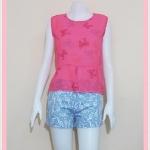 **สินค้าหมด blouse2108 เสื้อแฟชั่นน่ารักแขนกุดชายระบาย ผ้าชีฟองเนื้อทรายลายโบว์สีชมพู