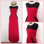 **สินค้าหมด jumpsuit404 จัมพ์สูทขายาวแฟชั่นงานแพลตตินั่มผ้าเนื้อดี สีแดงขลิบดำ