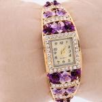 นาฬิกาข้อมือ นาฬิกาผู้หญิง แบบกำไลข้อมือ Diy ติดคริสตัล ติดดอกไม้ สุดหรู เพชร CZ AAA นาฬิกา ทอง 18 K ใส่ออกงาน ของขวัญให้แฟน 164523