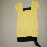 เสื้อยืดผู้หญิง เสื้อยืดแฟชั่น สีเหลือง คอกว้าง เสื้อตัวยาว มือสอง แบบสวย มีดีไซน์ เสื้อแฟชั่นผู้หญิง ราคาถูก us003