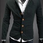 เสื้อสูท ผู้ชาย เสื้อ Jacket นอก แขนยาว ผ้า Cotton กระดุมหน้า สีเขียวแก่ สีเข้ม มีกระเป๋า หน้า หลายจุด เสื้อคลุม คอปก ดีไซน์ เก๋ 278521_2