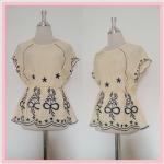**สินค้าหมด blouse1749 เสื้อแฟชั่นงานแพลตตินั่มผ้านิ่มปักลายช่อดอกไม้ แขนในตัว เอวจัมพ์ สีเหลืองพาสเทล รอบอก 38 นิ้ว