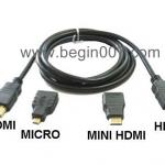 3 in 1 สาย HDMI 3หัว ยาว 1.5 ม. (พรัอม Adapter Mini HDMI + Micro HDMI)