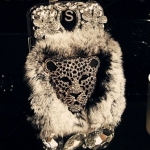 เคส iphone 5  5s ขนมิ้ง เคสขนเฟอร์ ประดับ คริสตัลรูป เสือดาว Leopard ขนเฟอร์สีเทา no 84274_3