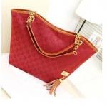 กระเป๋าถือผู้หญิง ใบใหญ่ ใส่นิตรสารได้ ปากกว้าง กระเป๋าถือใส่ของ กระจุก กระจิก ผ้าแคนวาส ผสม หนัง สีแดงสด ลายโซ่ 200741_6
