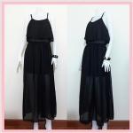 **สินค้าหมด dress2207 แม็กซี่เดรส/เดรสยาวแฟชั่น ระบายหน้า ผ้าชีฟองสีดำ