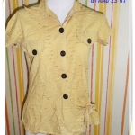 #1120 Used เสื้อแฟชั่นคอปก สีเหลือง ผ้า Cotton ใส่สบาย