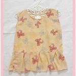 **สินค้าหมด blouse2106 เสื้อแฟชั่นน่ารักแขนกุดชายระบาย ผ้าชีฟองเนื้อทรายลายโบว์สีเหลือง