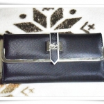 กระเป๋าสตางค์ lc ใบยาวรุ่นเข็มขัด สีดำ K201