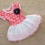 ชุดเดรสเด็ก ชุดกระโปรงเด็กผู้หญิง เสื้อลายจุด สีชมพูโอรส กระโปรง พองทำระบายเป็นชั้น ๆ สีขาว no 616390_1