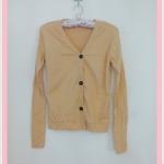 **สินค้าหมด Sale!! blouse1712 เสื้อคลุมแฟชั่นผ้ายืด แขนยาว กระดุมหน้า สีเหลืองมัสตาร์ด