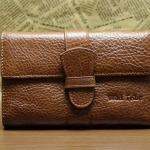 กระเป๋าสตางค์ผู้ชาย กระเป๋าสตางค์หนังวัวแท้ ใบใหญ่ ผู้หญิง ใช้ได้ สีน้ำตาลอ่อน ใส่บัตรได้หลาย ข่อง Oil Wax หนังสวยเงา ของขวัญ สุดหรู 356894