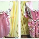ชุดนอน สายเดี่ยว ผ้าลื่น ผ้าซาติน พร้อมเสื้อคลุม สีชมพูหวาน  ดอกไม้ b006