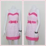 **สินค้าหมด Sale!! dress1999 เดรสแฟชั่นผ้าเนื้อดีลายสก็อต โบว์เอว สีชมพู