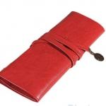 กระเป๋าใส่เครื่องสำอางค์ กระเป๋าใส่ดินสอ ปากกา หนังแท้ สไตล์ วินเทจ สามารถใส่ ดินสอ เขียนตา ดินสอแต่งหน้าได้ สีแดง no 31790_1