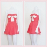 **สินค้าหมด dress2264 เดรสแฟชั่นเกาะอกเสริมฟองน้ำ ผ้าสกินนี่(ยืดได้เยอะ) สีโอลด์โรสเข้ม