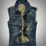 เสื้อแจ็คเก็ตยีนส์ แขนกุด สำหรับ หนุ่มสาว นักซิ่ง Jacket ยีนส์ แบบเซอร์ ๆ ลุย ๆ สียีนส์ เข้ม แต่งแขน รุ่ย ๆ กระดุมหน้า กระเป๋า 2 ข้าง 17505
