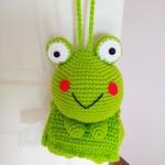 กล่องทิชชูถักเคโระ สำหรับทิชชูม้วน (keroro tissue box cover crochet for tissue roll)