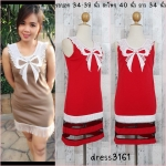 LOT SALE!! Dress3161 ชุดเดรสแฟชั่นน่ารัก แขนกุด คอลูกไม้ถักรูปโบว์สีขาวครีม ตัดต่อชายด้วยผ้าโปร่งสีดำ ผ้าแมงโก้เนื้อดี สีแดง
