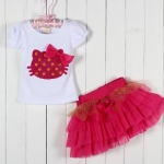 ชุด เสื้อ กระโปรง เด็กผู้หญิง เข้าชุดกัน ลาย หน้าแมว ติดโบว์ สีแดง เสื้อสีขาว กระโปรง ระบาย เป็นชั้น ชุดเด็ก น่ารัก ๆ 268994