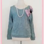 **สินค้าหมด Sale!! blouse1666 เสื้อกันหนาวแฟชั่นไซส์ใหญ่ผ้าหนานุ่ม แขนยาว เอวจัมพ์ แต่งโบว์ดอกไม้ช่วงบ่า สีเขียว อก 40 นิ้ว
