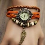 นาฬิกาข้อมือ ผู้หญิง สายหนังถัก สไตล์สร้อยข้อมือ วินเทจ สีส้มสด หนังถัก ผสมกับลูกปัด ห้อยจี้รูปปีกนก ของขวัญให้แฟน น่ารัก no 9798247_8