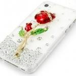 เคส iphone 4 4S เคสคริสตัล เคสติดดอกกุหลาบ สีแดง เคสใส Hand Made สวย ๆ ราคาถูก 5034947
