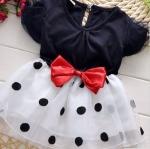 ชุดกระโปรงเด็กผู้หญิง อายุ 6 - 24 เดือน เดรสเด็กผู้หญิง เสื้อยืด สีน้ำเงินกรมท่า กระโปรง ระบายสีขาว เดรสคุณหนู ใส่เที่ยว ใส่ออกงาน 209799