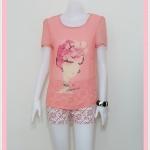 **สินค้าหมด blouse1789 เสื้อแฟชั่นไซส์ใหญ่ผ้าชีฟองเนื้อดี แต่งลายผู้หญิงปักมุก แขนสั้น สีส้มพาสเทล
