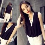 เสื้อแฟชั่น ซีทรู แขนกุด ทรงสวย สีดำแต่งสีขาวช่วงคอใน เก๋มาก พร้อมส่ง
