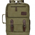 กระเป๋าเป้ กระเป๋าสะพายหลัง กระเป๋าเป้ แบบกระเป๋าเดินทาง ผ้าแคนวาส สีเขียวทหาร Army Green ใส่เสื้อผ้า ใส่ Notebook ได้ 996595_3