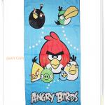 ผ้าขนหนู ผ้าเช็ดตัว ลาย Angry bird สีฟ้า