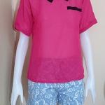 **สินค้าหมด blouse1922 เสื้อแฟชั่นน่ารักคอปกดำ แขนสั้น กระเป๋าหลอก ผ้าชีฟองโปร่งสีชมพูช็อคกิ้งพิ้งค์