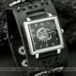 นาฬิกาข้อมือ แนวร็อค นาฬิกาหนังแท้ แต่ง จี้แมงป่อง นาฬิกาพังค์ สายหนังสีดำ no 45486
