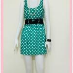 **สินค้าหมด Sale!! dress2047 เดรสแฟชั่นผ้าคอตตอน โบว์เอว แขนกุด สีเขียวลายจุดขาว