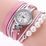 นาฬิกากำไลสร้อยข้อมือ นาฬิกาข้อมือ ผู้หญิง สายหนัง ลายชั้น ร้อยไข่มุก หน้าปัดฝังเพชร สวยเก๋ มีสไตล์ 750623
