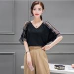 **สินค้าหมด Blouse3495-Size-M เสื้อคอวีแขนสามสามส่วนผ่าแต่งซีทรู ผ้าเนื้อดีสีพื้นดำ