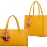 กระเป๋าถือผู้หญิง กระเป๋าหนัง สีเหลือง มะนาว เปรี้ยว ห้อยดอกไม้ ดีไซน์ แบบ เรียบ ๆ คลาสสิค กระเป๋าใส่ของไปเรียน ไปเที่ยว ทะเล เรียนพิเศษ 882629_9