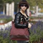 กระเป๋าสะพายข้างผู้หญิง กระเป๋าถือทรงถุง ผ้าแคนวาส แฟชั่นปี 2015 ใส่ของได้เยอะ กระเป๋าใส่เสื้อผ้าได้ ใส่หนังสือเรียน ตกแต่งหนังแท้ สีเรดไวน์ 894266_4