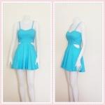 **สินค้าหมด dress2255 เดรสแฟชั่นสายเดี่ยวอกเสริมฟองน้ำบาง ซิปหลัง เว้าเอว ผ้าสกินนี่(ยืดได้) สีฟ้าพาสเทล