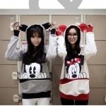 เสื้อแขนยาวฮู้ดดี้ มินนี่เมาส์ มิกกี้เมาส์ แฟชั่นเกาหลี ผ้า cotton น่ารัก