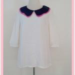 **สินค้าหมด Sale!! blouse1675 เสื้อแฟชั่นตัวยาวไซส์ใหญ่ผ้าชีฟอง คอบัว แขนสามส่วน สีครีม